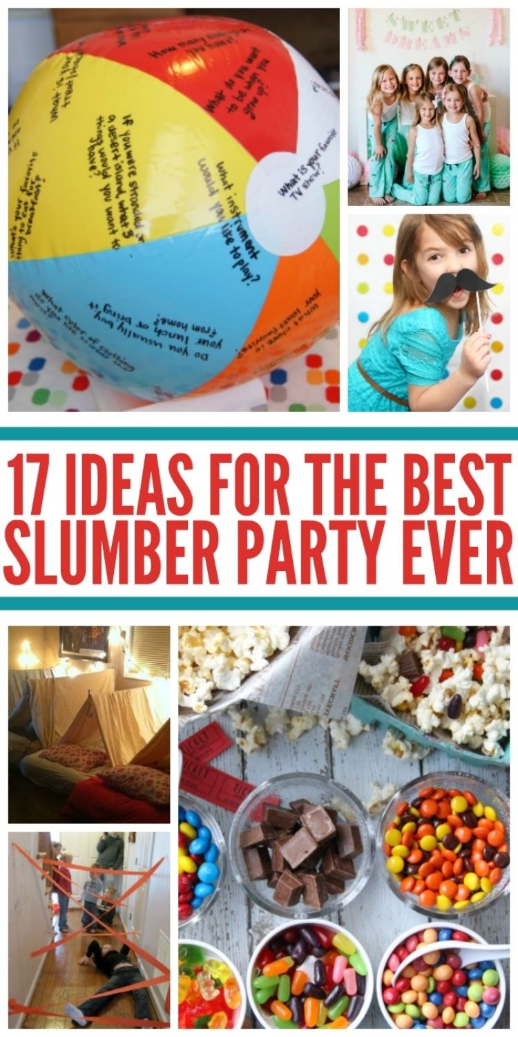 Collage of sleepover party ideas including beach ball ice breaker game, matching pajama party, glamping, popcorn bar, and crepe paper laser tag