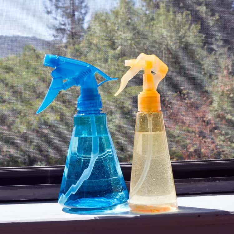 Spray bottles with diy cleaning solution