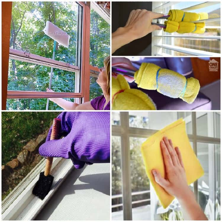 Window cleaning tips picture collage washing outside windows from the inside with a long-handled brush, cleaning blinds with a diy brush from microfiber cloth and a tong, cleaning window tracks with a sponge brush, drying windows with a microfiber cloth