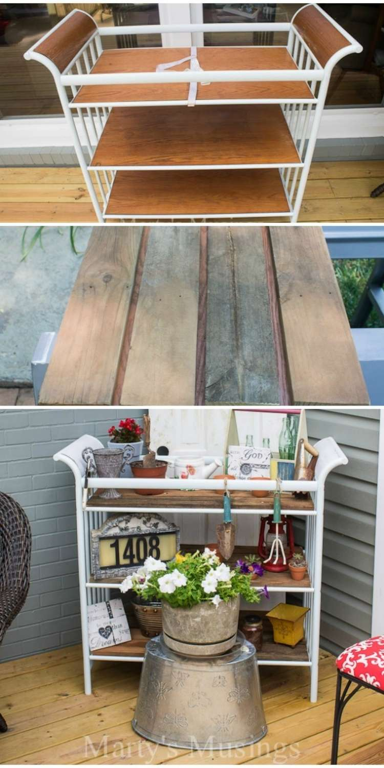 White and wood painted changing table transformed into rustic patio garden cart with old wood fence board accents