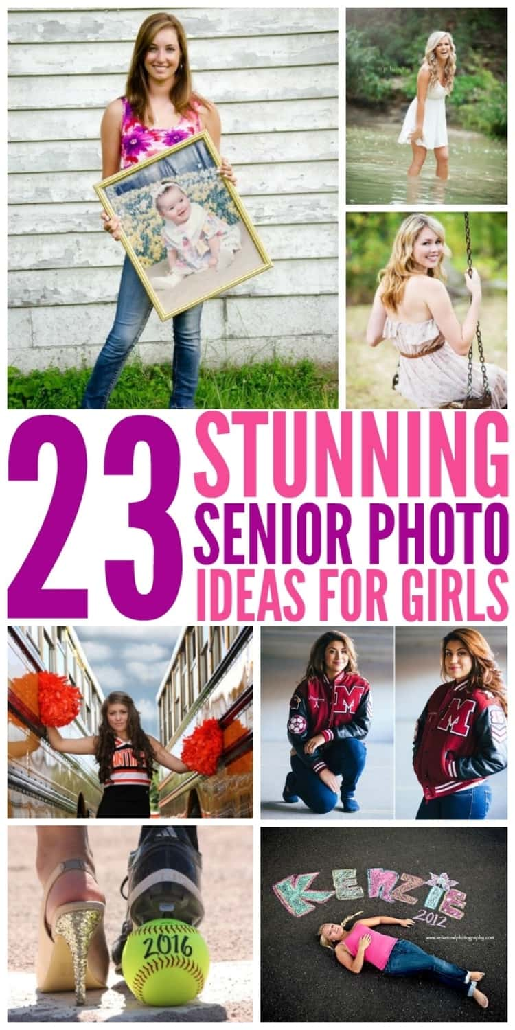 Photo collage of girl holding up baby photo, happy girl in a stream, smiling girl on a swing, cheerleader standing between 2 buses with pompoms in both hands, 2-photo collage of 2 different poses of girl in jersey, girl's feet in heel and cleat stepping on tennis ball with 2016 written on it, girl lying on sidewalk with her name and year written on sidewalk.