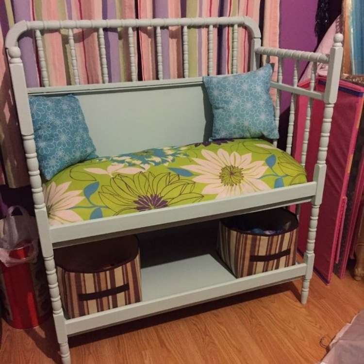 Repurposed changing tables into nifty book bench