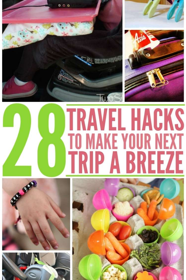 28 Travel Tips to make your next trip more fun, photo collage with child in car seat and tray on lap, toothbrushes propped up with plastic clothespins, finger foods inside plastic eggshells, sippy cup strapped to side of car seat.
