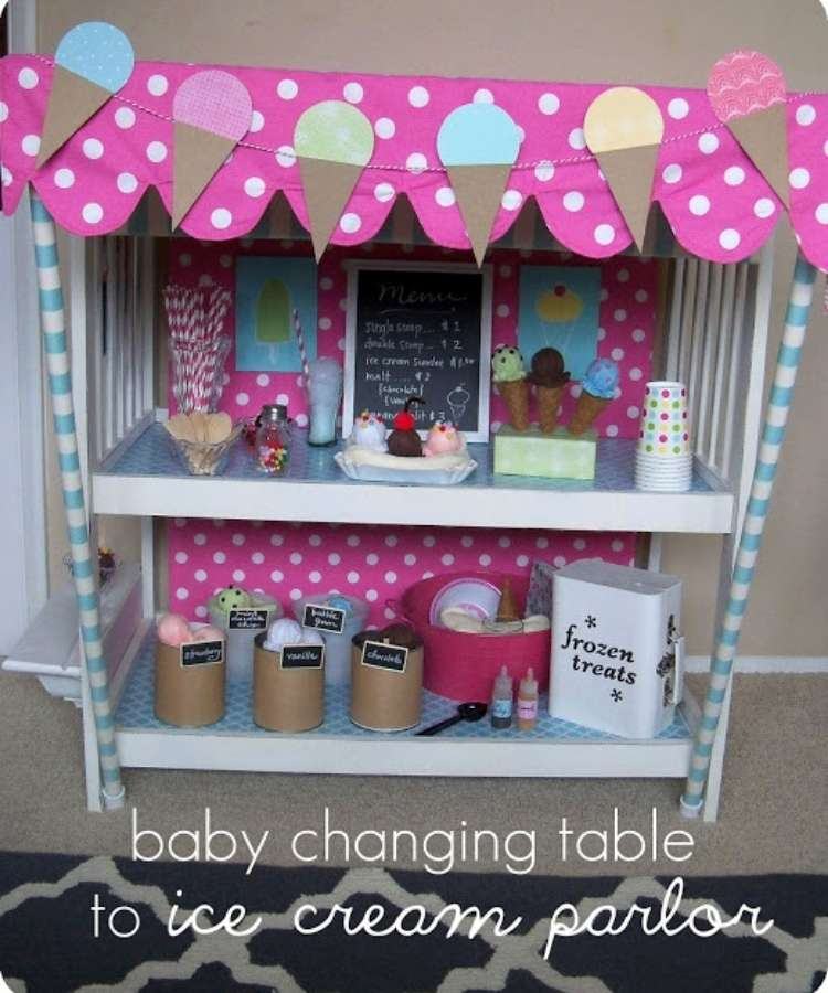 Repurposed changing tables into colorful ice cream parlor with straws and felt ice cream comes, pom pom sprinkles, wooden spoons and yarn ice cream.