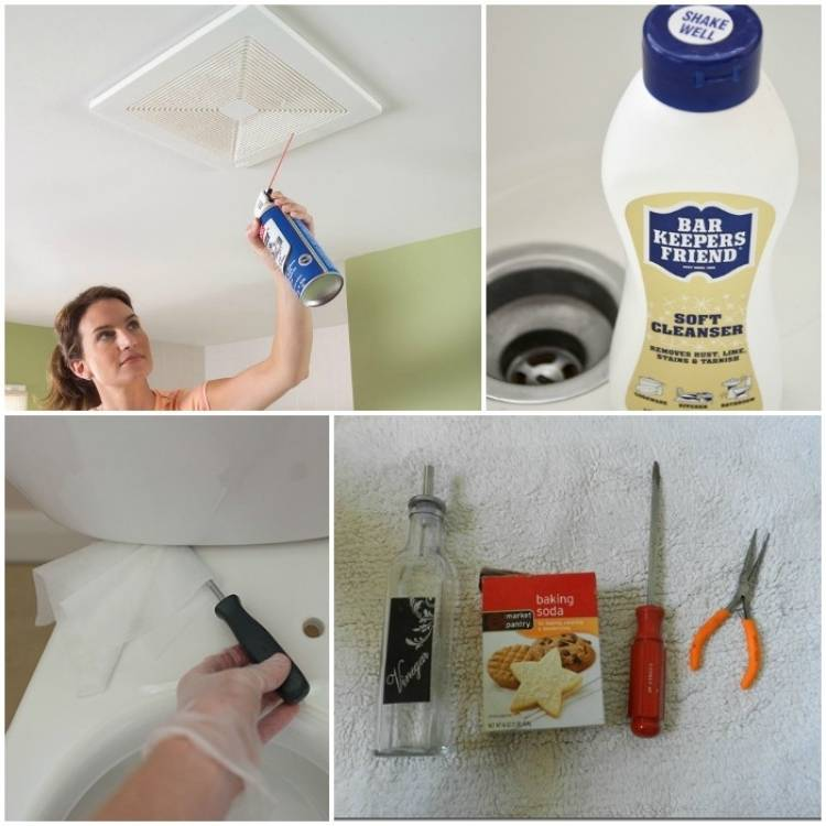 woman cleaning the exhaust fan with a can of air, bar keeper's friend cleanser bottle, cleaning under the toilet tank with a screwdriver and wipes, vinegar, baking soda, screwdriver, long nose pliers for cleaning drains