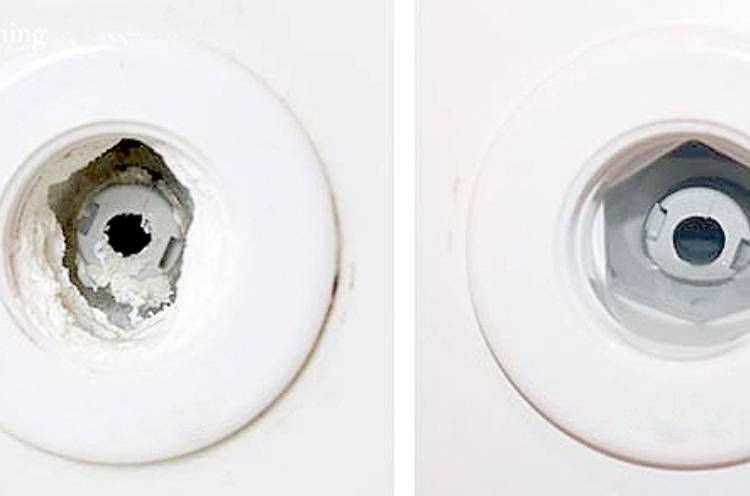 bathtub jet's before and after photo after using vinegar to clean sediments