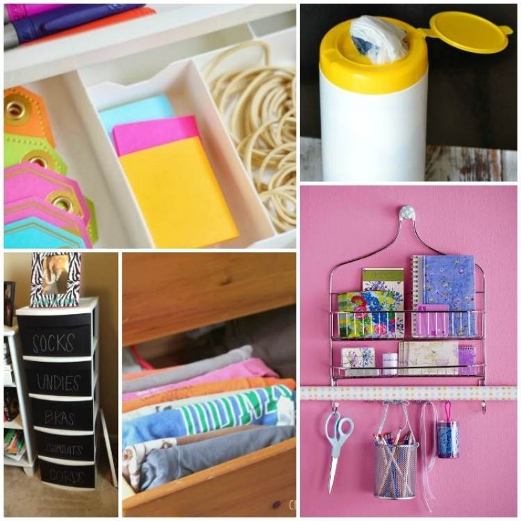 College of desk drawer organizers, plastic bag storage using wipe container, painted plastic drawers, tshirt storage, wire shower caddy supply organizer