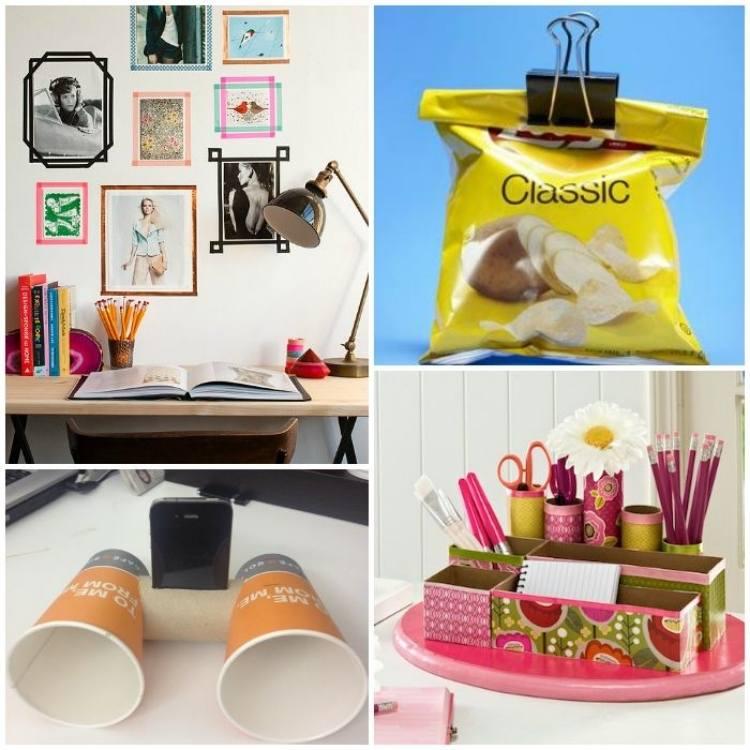 college of washi tape picture frames, use binder clips, DIY phone speaker, cereal box desk organizer