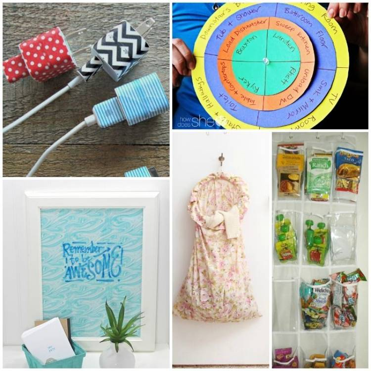 college of washi tape cell phone chargers, chore chart, DIY dry erase board, hanging laundry bag, over the door shoe organizer