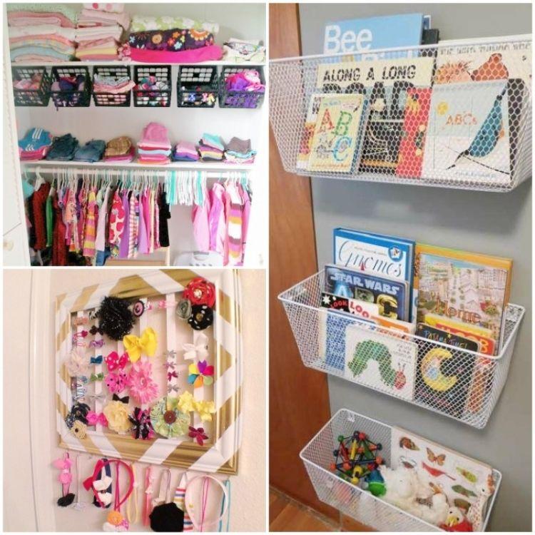 Collage of kids room organization ideas