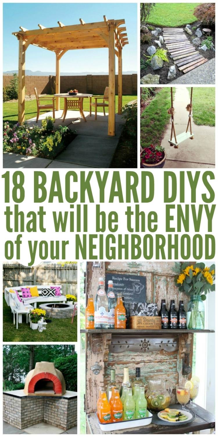 18 Backyard DIY ideas - collage with pergola, beverage bar, rope swing, fire pit seating