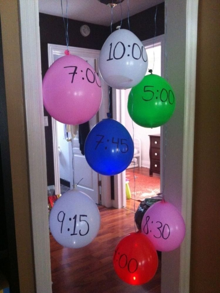 plan out party activities by writing the time on a balloon