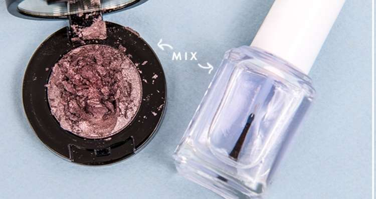 Use sparkly eye shadow to make custom color nail polish