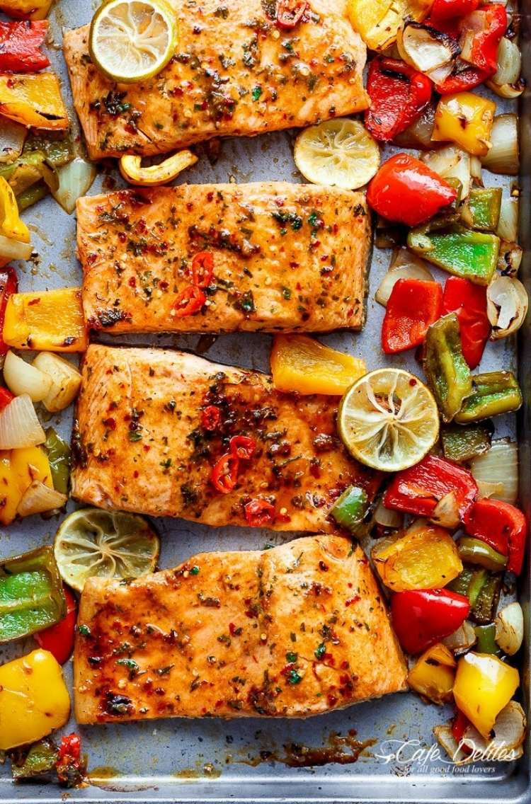 Salmon Sheet pan Dinner: Chili-lime-salmon, yellow peppers, red peppers, lime