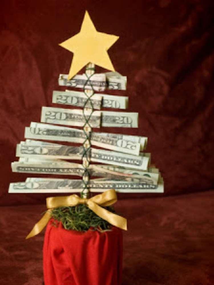 Fun money gift ideas-holiday themed money tree, money made into a christmas tree