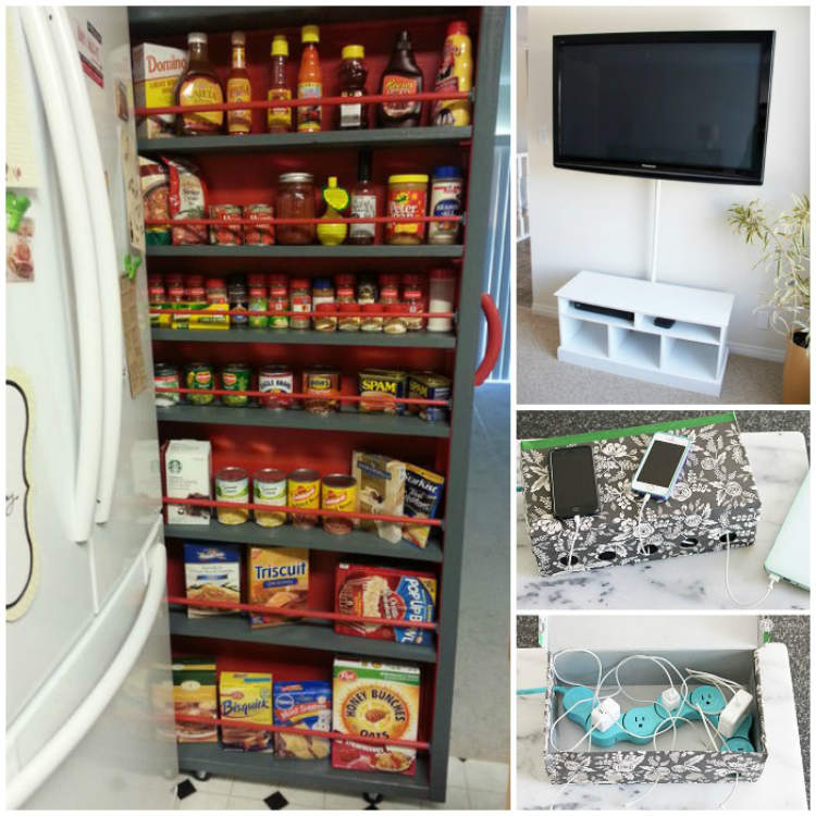 Clever ways to hide clutter - charger cable storage, roll-out pantry unit, tv cables hidden behind shower rod..