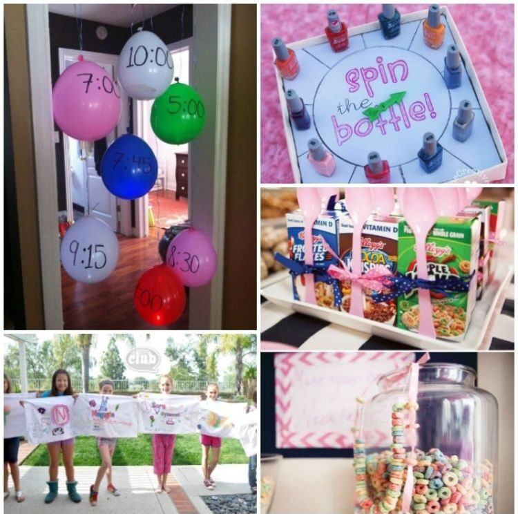 Slumber party ideas collage - balloon activities, diy personalized pillow case craft, mini cereal boxes, cereal necklaces, and nail polish spin the bottle