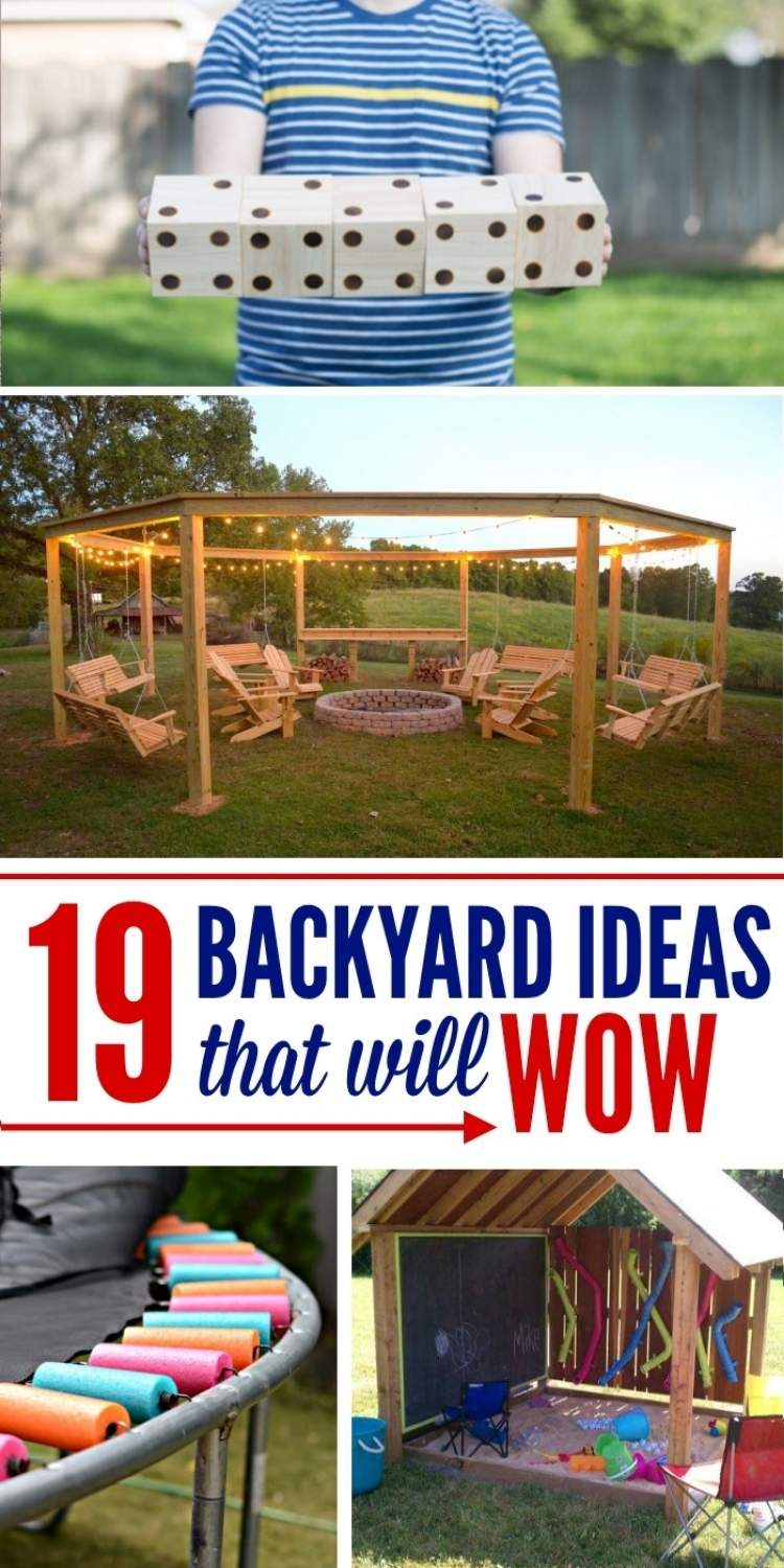 Backyard ideas - collage boy holding wooden dice, wood pergoal with fire pit, trampoline spring covers, sandbox shed