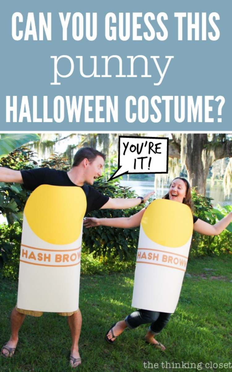 easy couples costume - hashbrown hashtag costume