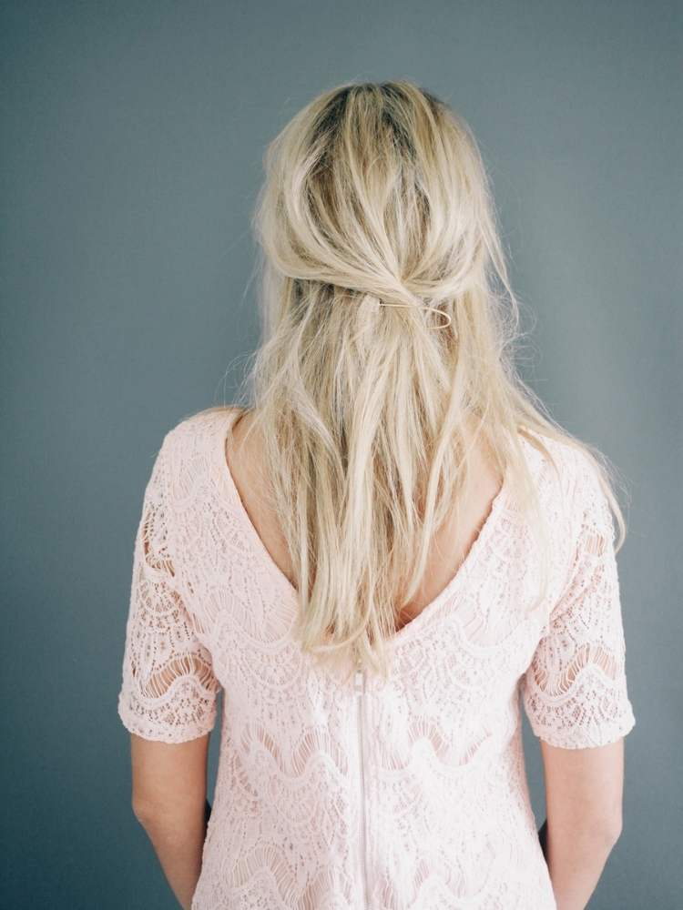Simple half-up hairstyle 2