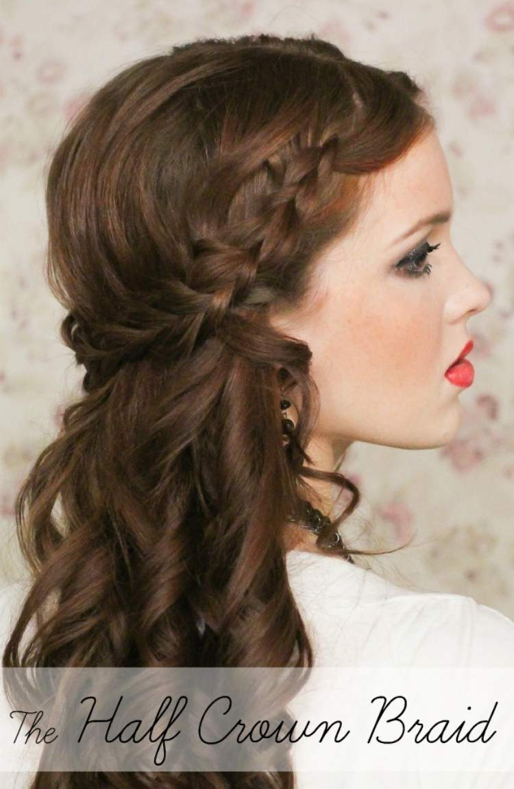 Simple half-up hairstyle with a braid
