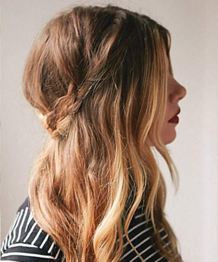 Simple half-up hairstyle with braid