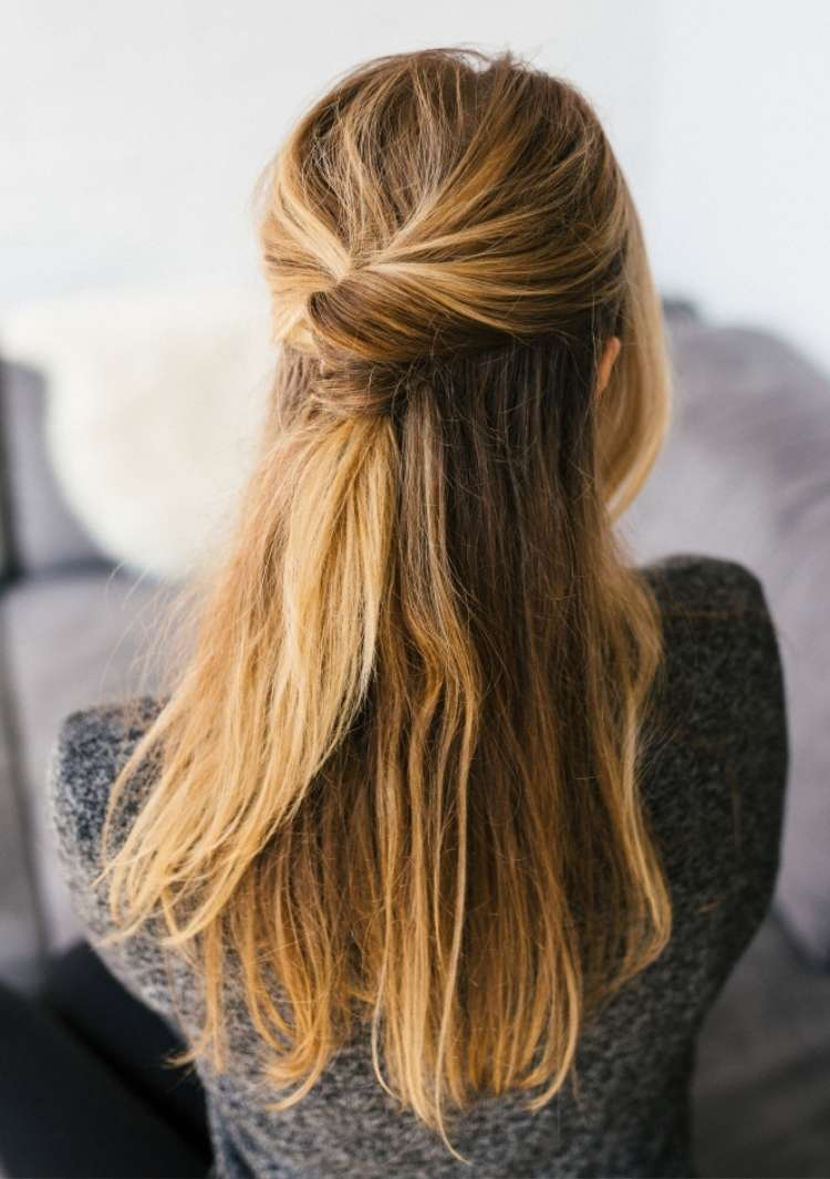 Simple hairstyle half-up with a twist