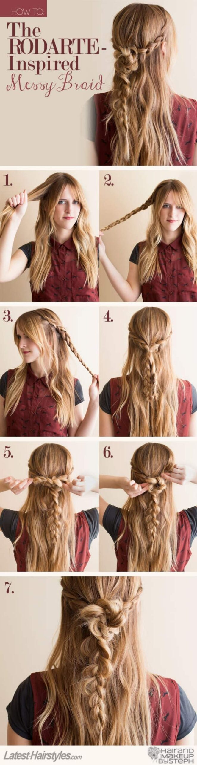 Simple Half-Up Hairstyle with boho braid