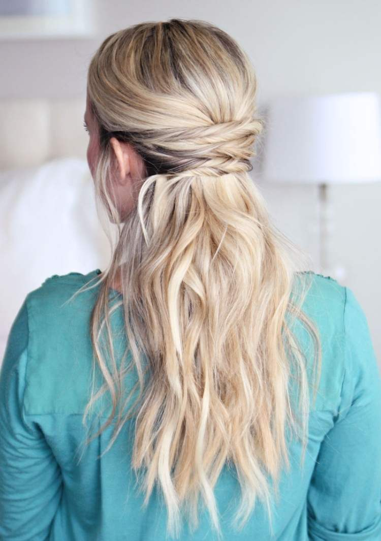 Simple half-up hairstyle with criss cross