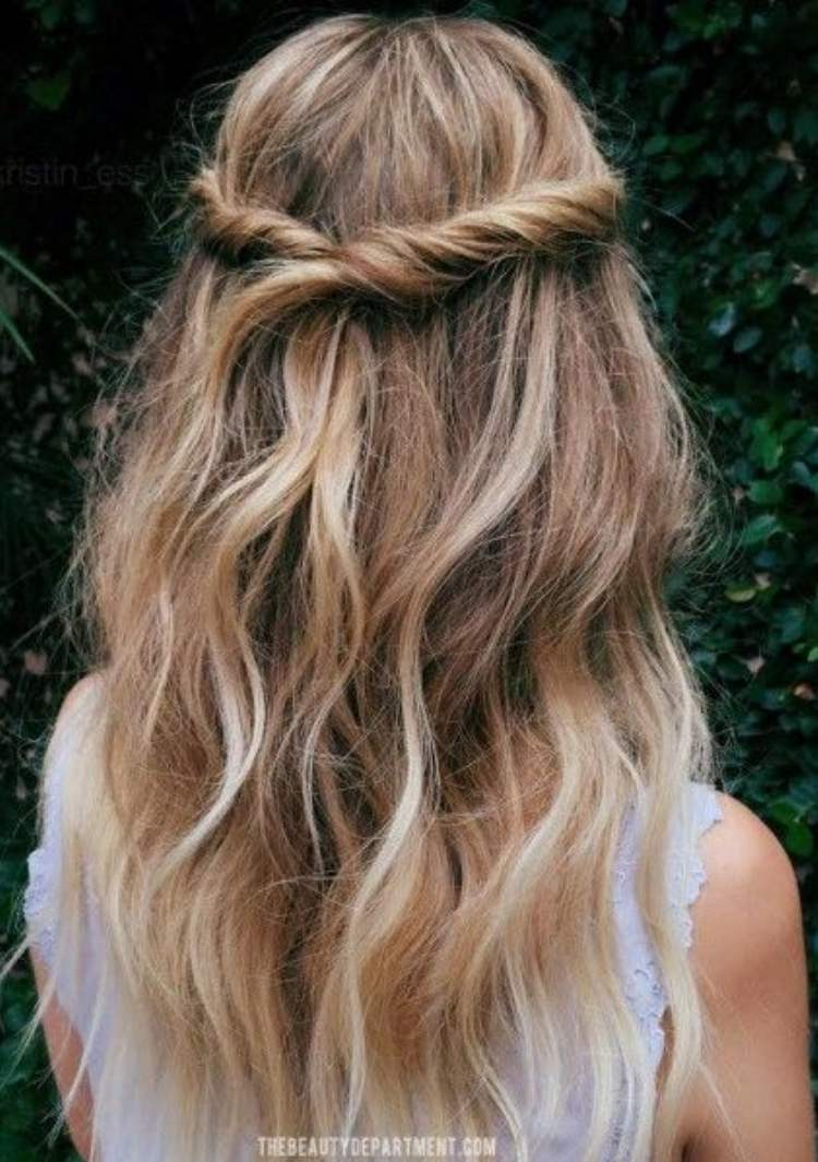 Simple half-up hairstyle with twist