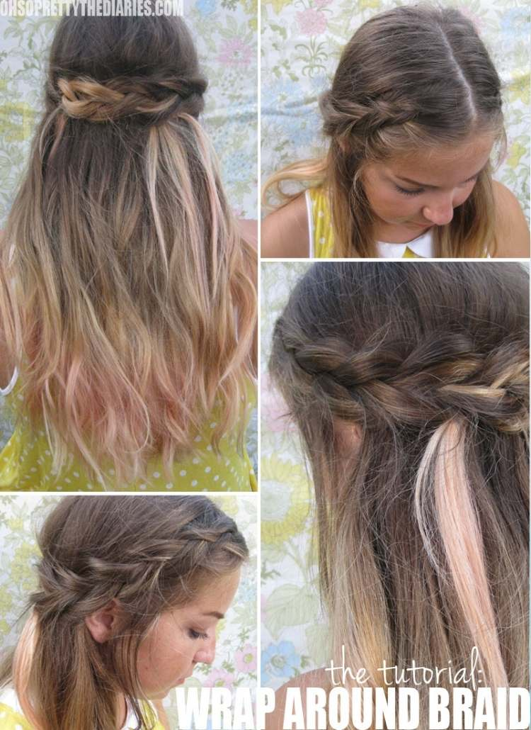 Simple half-up hairstyle collage of braid around crown