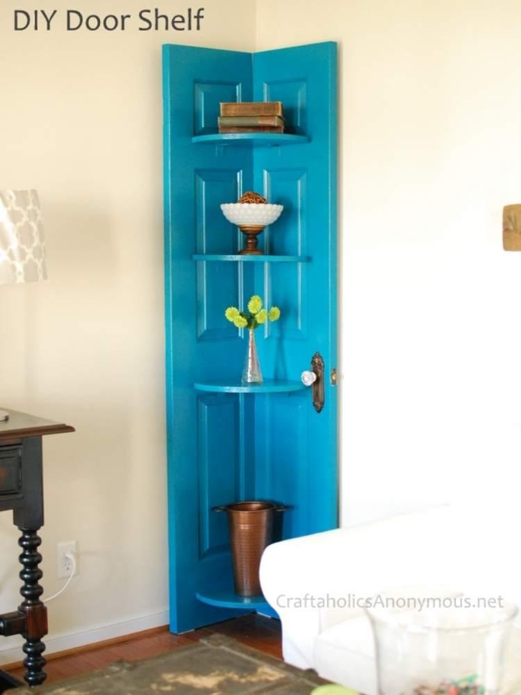 Reuse Old Doors Corner Shelf