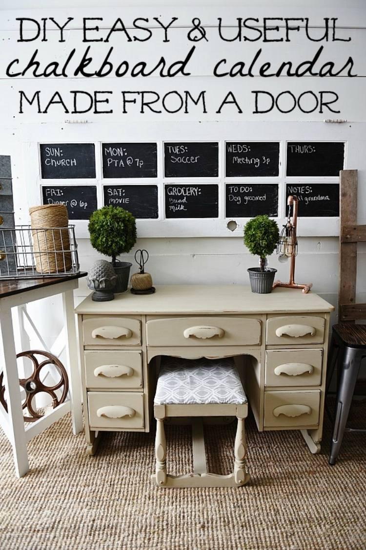Reuse old doors - Door Chalkboard command center