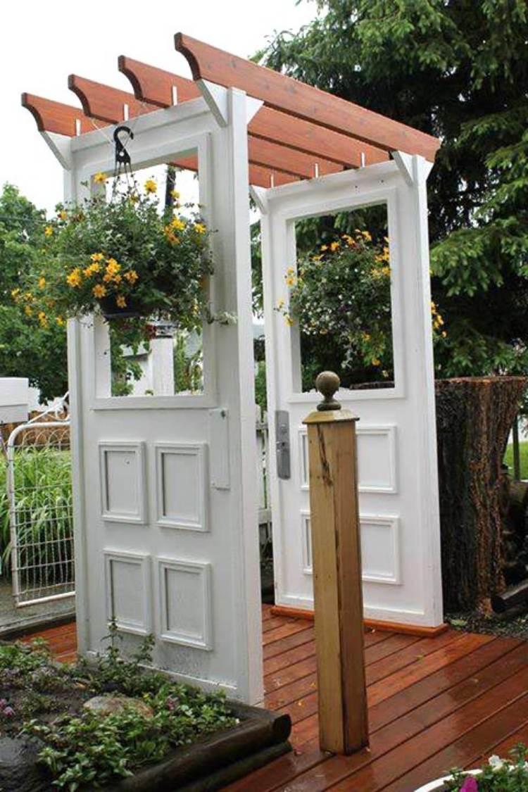 Reuse old doors - garden arbor