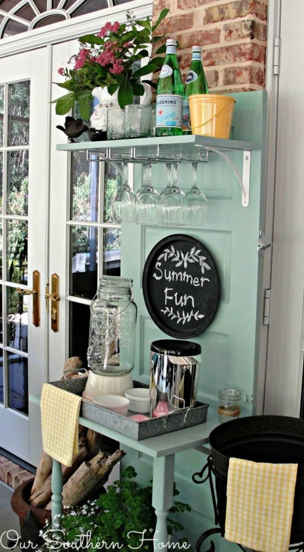 Diy beverage station from old door
