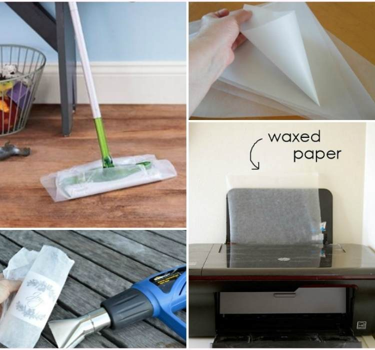 Collage of Different ways to use wax paper for cleaning, icing bag, and decorating