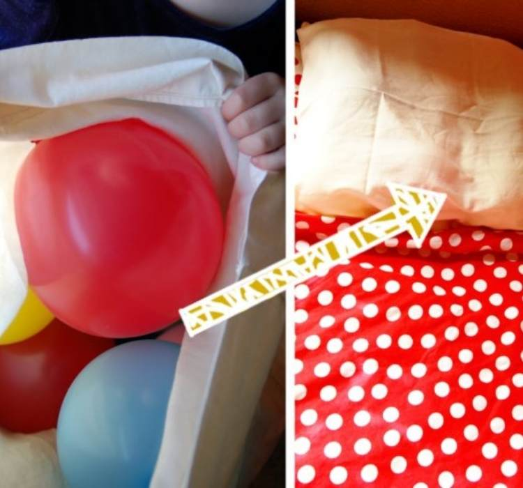 Birthday Prank- picture of a pillow case stuffed with balloons