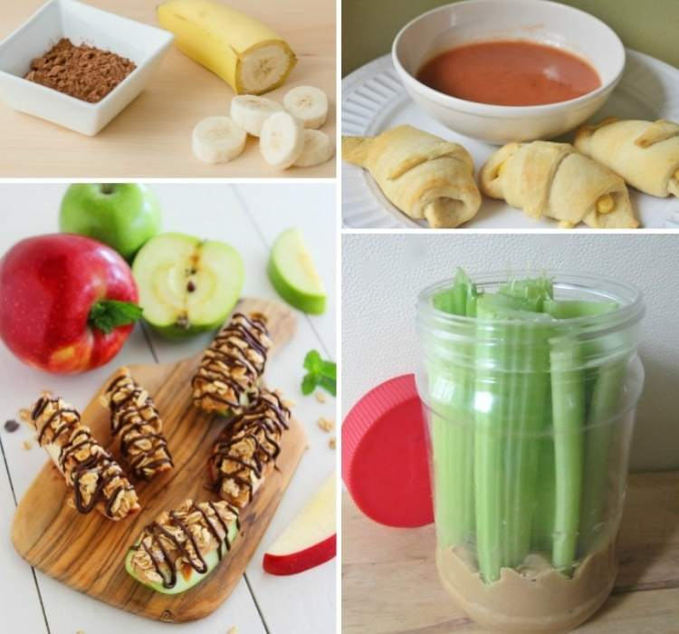 Snack Ideas- Collage of easy snack ideas, celery and peanut butter in a jar, banana and peanut butter, cheese and crescent rolls