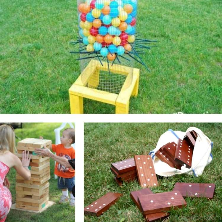 backyard ideas: collage of pictures showing jenga, dominos,