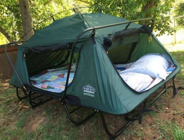 Backyard ideas: cot with tent canopy