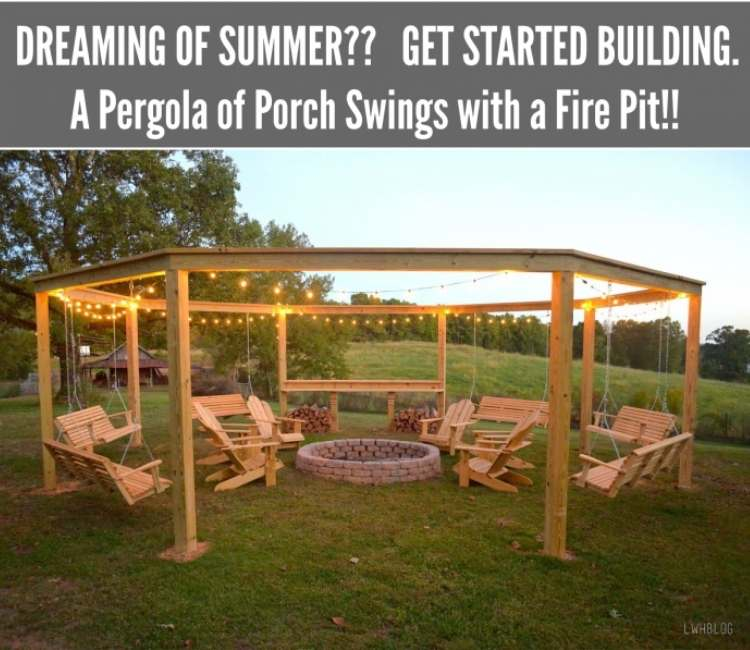 Backyard ideas: pergola with swings all around the outside and a fire pit in the middle