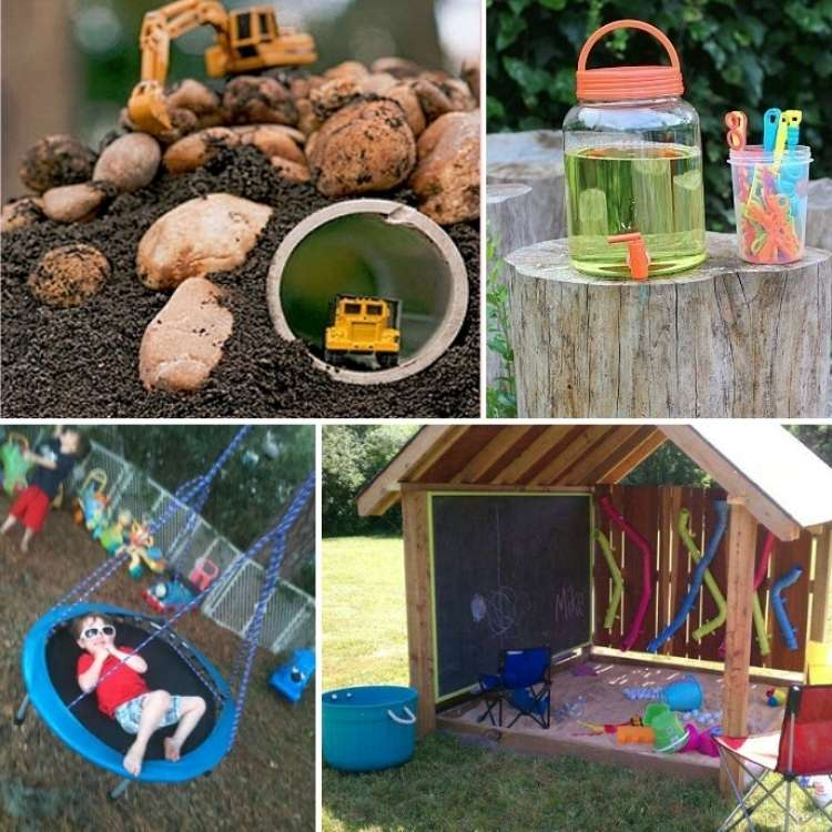silly back yard ideas collage of construction, bubbles, sandbox & swing