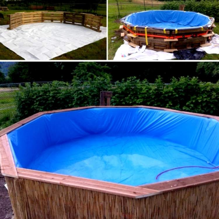 Swimming pool made from pallets