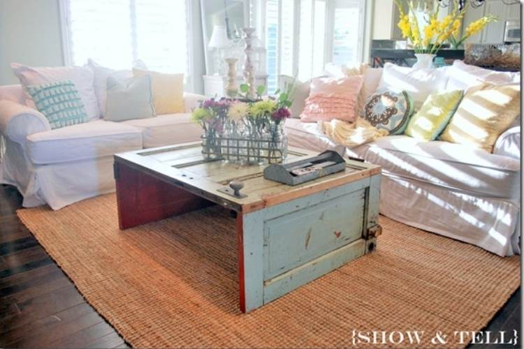 Reuse old Doors - door turned coffee table
