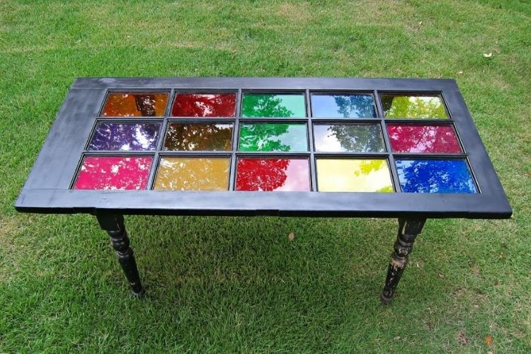 Reuse Old Doors -stained glass french door into a table