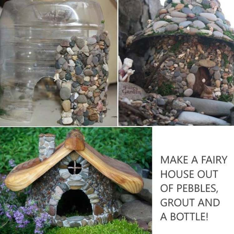 Garden Ideas: Collage of progression of building fairy house from pebbles