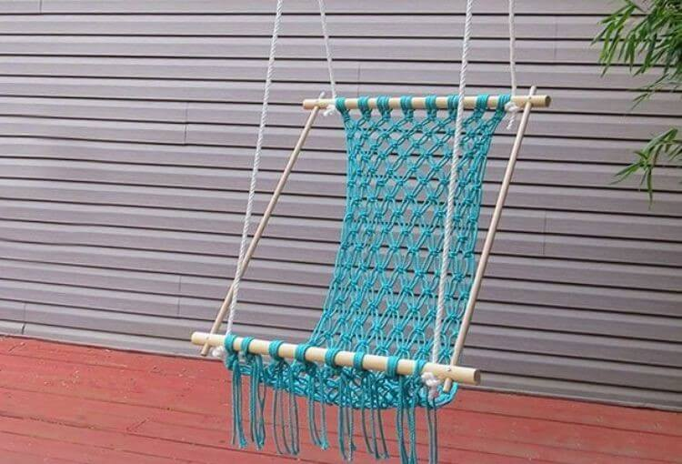 hammock made from macrame cord and dowel rods