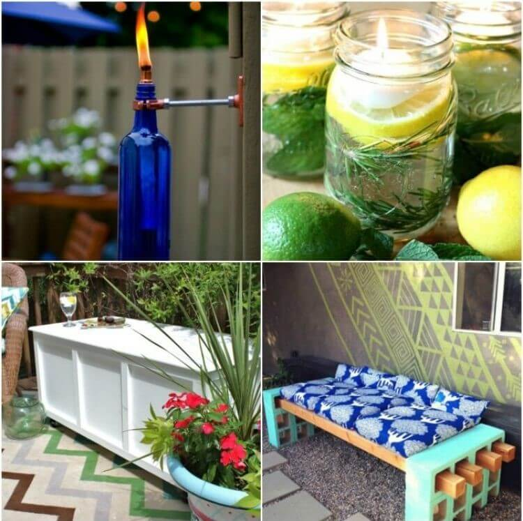 Patio DIY Ideas Collage - citronella mason jar floating candles, wine bottle tiki torches, wooden storage box, and concrete blocks with wood posts and cushions for outdoor seating
