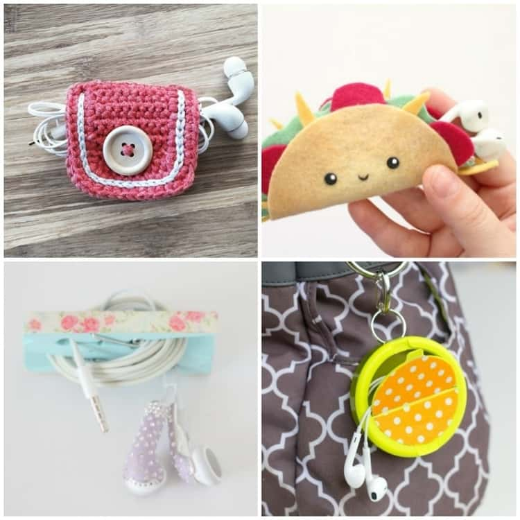 4-photo collage - DIY crocheted earbuds holder, taco-shaped earbuds holder, clothespins earbuds holder, and old mints earbud case.