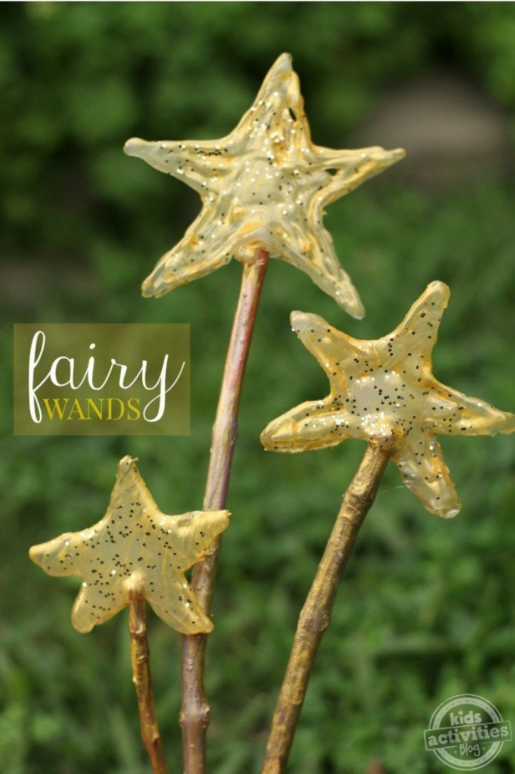 Fairy wand craft made from sticks and glue sticks is an inexpensive easy slumber party idea
